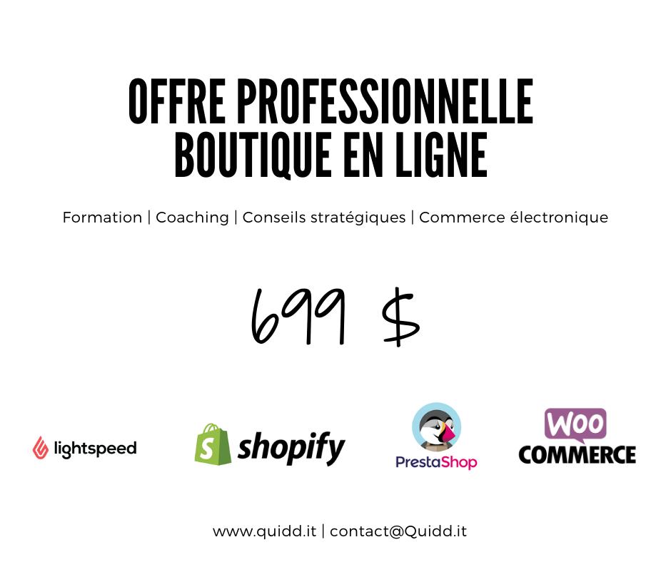 Offre professionnelle - Boutique en ligne Quidd