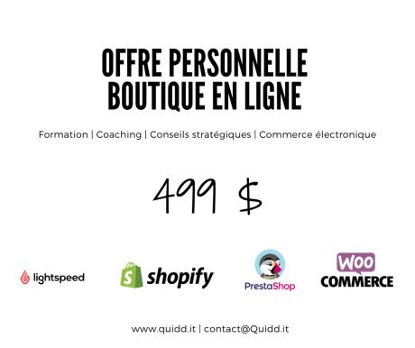 Offre personnelle - Boutique en ligne Quidd